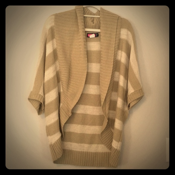 Say What? Sweaters - Beige and Cream Short Sleeved Sweater